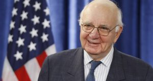 FILE - In this Nov. 26, 2008, file photo former Federal Reserve Chairman Paul Volcker, chairman-designate of the Economic Recovery Advisory Board, listens to President-elect Barack Obama, not pictured, as he speaks during a news conference in Chicago. Volcker, the former Federal Reserve chairman died on Sunday, Dec. 8, 2019, according to his office, He was 92. (AP Photo/Charles Dharapak, File)