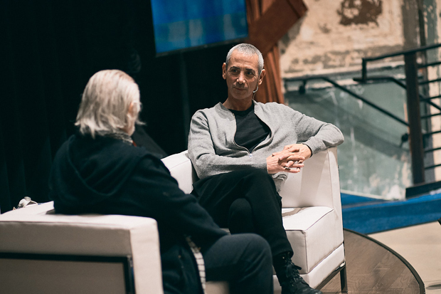 Steven Kotler, executive director of the Flow Research Collective, chats with Richard Saul Wurman, Creator of TED, during SHIFT U: Complicated Conversations. (Photo courtesy of SHIFT Society)