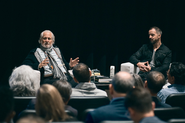 Richard Saul Wurman, left, creator of TED, and Joe Mechlinski, CEO and founder of SHIFT, engage with guests during SHIFT U: Complicated Conversations. (Photo courtesy of SHIFT Society)
