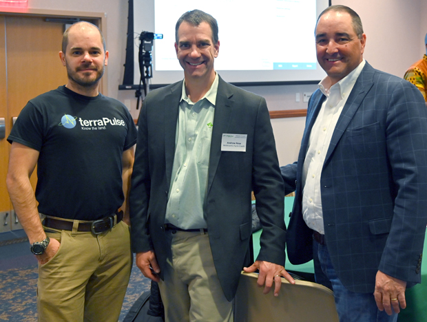 From left, Joe Sexton, co-founder and chief scientist with terraPulse; Andrew Rose, director of innovation, strategy and development with MidAtlantic Farm Credit; and Tom Truitt, CEO of MidAtlantic Farm Credit, attended the F³ Tech symposium. (Photo courtesy of F³ Tech Accelerator)