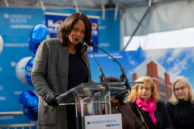 Dr. Maya Rockeymoore Cummings, speaks to the crowd on behalf of her late husband, U.S. Rep. Elijah Cummings, who was a passionate champion for the residents of west Baltimore. (Photo courtesy of LifeBridge Health)