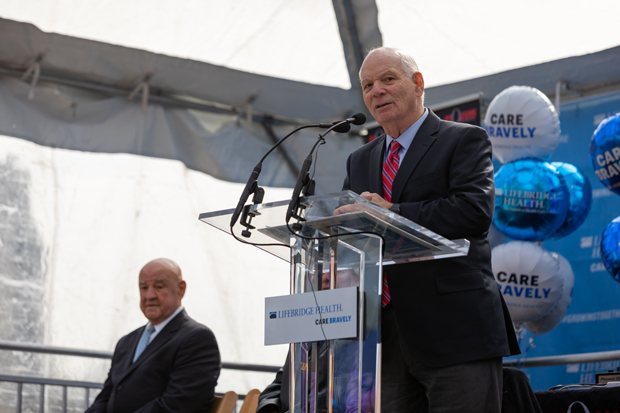 U.S. Sen. Benjamin Cardin addresses the crowd during the dedication ceremony of Bon Secours Hospital joining the LifeBridge Health family. (Photo courtesy of LifeBridge Health)