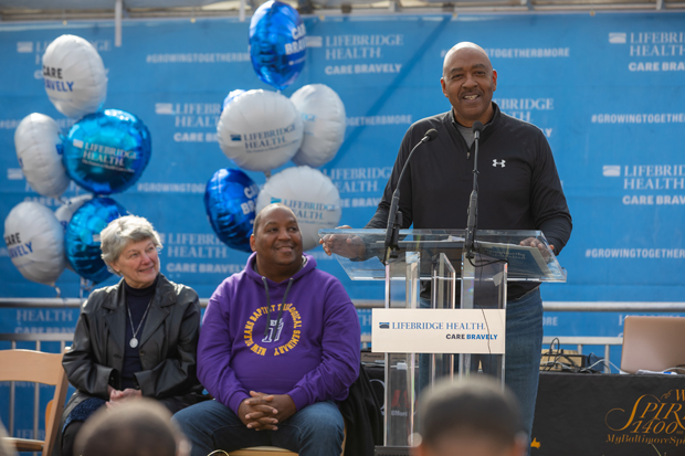 Dr. Sam Ross, chief community health officer with Bon Secours Mercy Health, delivers some words to the crowd at the dedication ceremony. (Photo courtesy of LifeBridge Health)