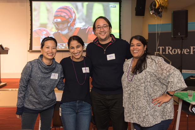 From left, LQ Huang, general manager of U.S. Equity at T. Rowe Price; Cara Garcia-Bou, learning and communications officer with the T. Rowe Price Foundation; Tadao Okamoto, financial services associate at Sortino Financial Group; and Preethi Gnanasundram, senior analyst at T. Rowe Price, attended the Gameday Conversations event.  (Photo courtesy of T. Rowe Price)
