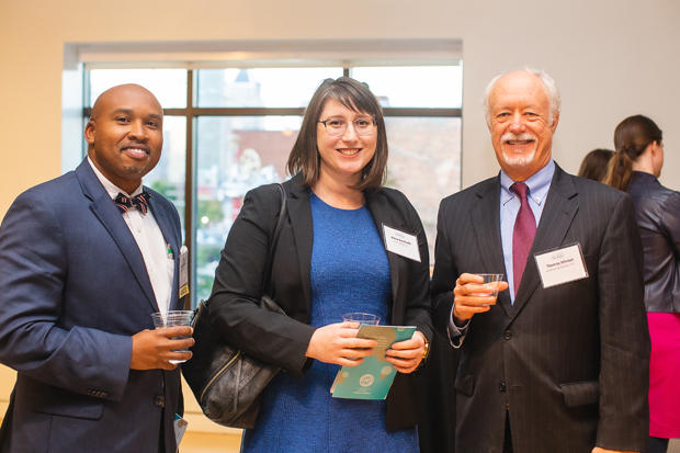 From left, Joseph Githiku, a solo practitioner; Alexa Bertinelli, senior staff attorney with Civil Justice Inc.' and Tom Minton, of Goldman & Minton P.C., attended the Celebrate Pro Bono awards. (Photo by Erik Hoffman, Petruzzo Photography LLC)