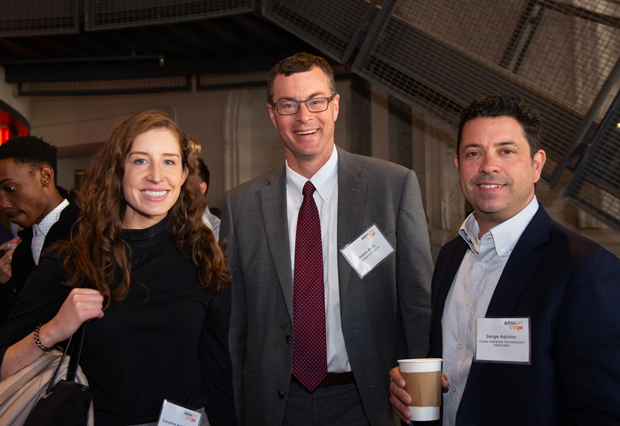 "Caroline Robinson, senior manager of innovation at LifeBridge Health; Adam Beck, director of digital health with LifeBridge Health; and Jorge Aquino, business development and alliance management with Johns Hopkins Technology Ventures, attended the inaugural ""AdvantEdge: Leading on The Edge"" innovation summit. (Photo courtesy of SC&H Group)"