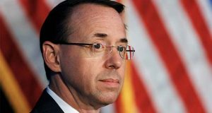 "FILE - In this June 20, 2017, file photo, Deputy Attorney General Rod Rosenstein listens during the Justice Department's National Summit on Crime Reduction and Public Safety in Bethesda, Md. Former Deputy Attorney General Rosenstein told the FBI he was ""angry, ashamed, horrified and embarrassed"" at the way James Comey was fired as FBI director. An FBI summary of that interview was among hundreds of pages of documents released Monday, Dec. 2, 2019, as part of a public records lawsuit brought by BuzzFeed News and CNN. (AP Photo/Jacquelyn Martin, File)"