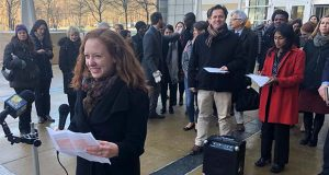 Linda Evarts, an attorney for the International Refugee Assistant Project, speaks to the media outside the federal courthouse in Greenbelt, Md., Wednesday, Jan. 8, 2020. A federal judge agreed Wednesday to block the Trump administration from enforcing an executive order allowing state and local government officials to reject refugees from resettling in their jurisdictions. (AP Photo/Michael Kunzelman)