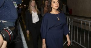 Actress Annabella Sciorra, right, arrives as a witness in Harvey Weinstein's rape trial, in New York, Thursday, Jan. 23, 2020. (AP Photo/Richard Drew)