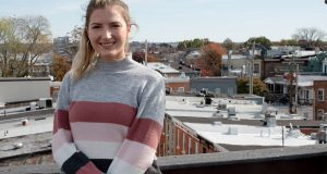 Kimmy Caldwell says her new East Baltimore home, which has a white roof, is cooler than her Fells Point rowhouse, which had an old black roof. (Capital News Service/ Maris Medina)