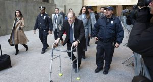 Harvey Weinstein leaves a Manhattan courthouse following a day in his trial on rape and sexual assault charges, Wednesday, Jan. 22, 2020 in New York. (AP Photo/Mark Lennihan)