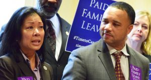 Del. Kris Valderrama, D-Prince George's, and Sen. Antonio Hayes, D-Baltimore City. (The Daily Record / Bryan P. Sears)