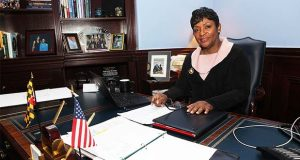 House Speaker Del. Adrienne Jones poses at her desk after an interview Jan. 2 in her office in Annapolis. (The Daily Record / Jason Whong)