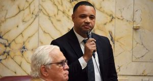 Sen. Antonio Hayes, D-Baltimore and chair of the Baltimore City Senate delegation, responds to Sen. Thomas V. Mike Miller Jr.'s comments about Baltimore and crime as Miller listens. (The Daily Record / Bryan P. Sears)