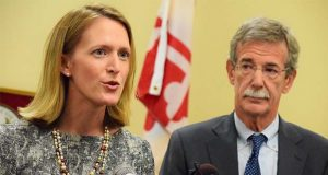Del. Brooke Lierman, D-Baltimore, and Maryland Attorney General Brian Frosh. (The Daily Record / Bryan P. Sears)