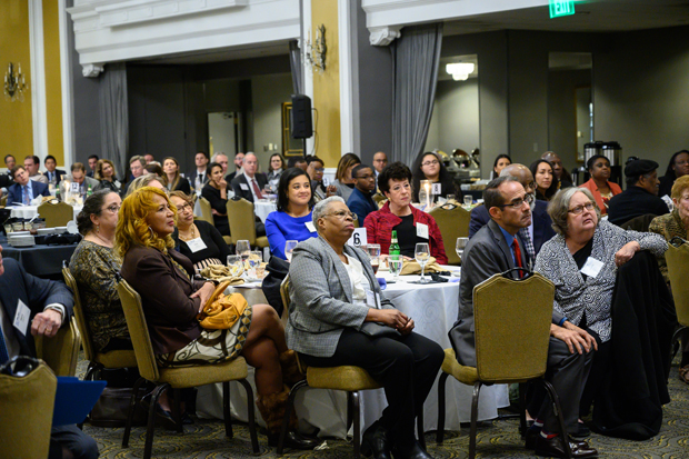 A crowd of nearly 200 guests listens to one of the speakers during the 2019 MLSC annual awards reception Dec. 9 at the Lord Baltimore Hotel. (Photo by Guill Photo Inc.)