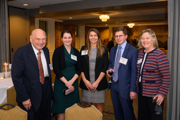 From left, Herbert Garten, an attorney with Fedder and Garten Professional Association and former MLSC board chair, gets a photo with Kramon & Graham associates Marysia Pomorski, Megan Micco and Louis Malick and Natalie McSherry, far right, a principal with Kramon & Graham and MLSC board chair. (Photo by Guill Photo Inc.)