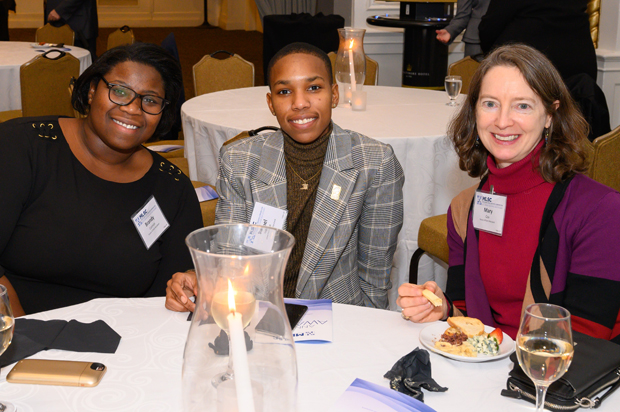 From left, House of Ruth colleagues attorney Brandy Cannon, paralegal Shanel Hodge and attorney Mary Cox, enjoy their time at the MLSC's 2019 annual awards reception. (Photo by Guill Photo Inc.)