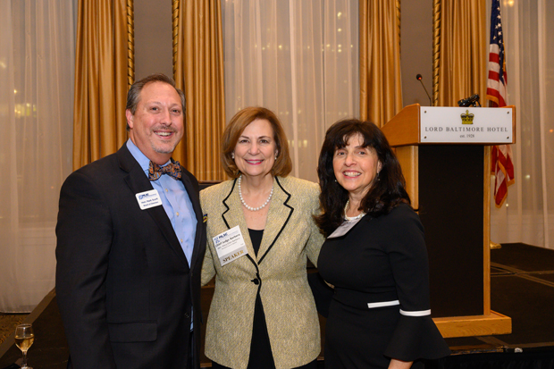From left, Mark Scurti, associate judge with the District Court for Baltimore City and an MLSC board member; Mary Ellen Barbera, chief judge of the Maryland Court of Appeals; and Sharon Goldsmith, executive director of the Pro Bono Resource Center of Maryland, pose for a photo. (Photo by Guill Photo Inc.)