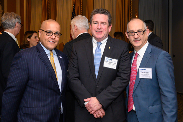 From left, Victor Velazquez, executive director of the Maryland State Bar Association; John Morrissey, chief judge of the District Court of Maryland; and Donald Tobin, dean of the University of Maryland Francis King Carey School of Law, attended the MLSC's 2019 annual awards reception. (Photo by Guill Photo Inc.)