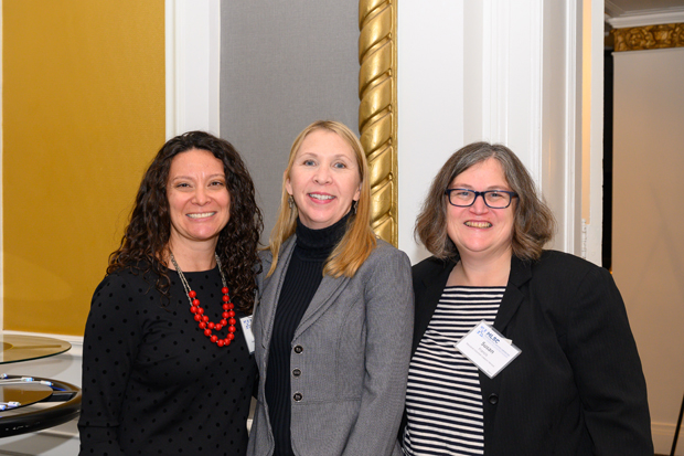 From left, Michelle Siri, executive director of the Women's Law Center of Maryland; Jennifer Vido, executive director of the Harford County Bar Foundation; and Susan Francis, executive director of Maryland Volunteer Lawyers Service, pose for a photo. (Photo by Guill Photo Inc.)