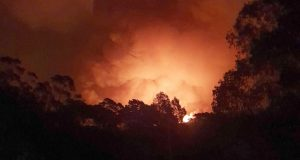 A fire approaches the village of Nerrigundah, Australia. The tiny village has been among the hardest hit by Australia's devastating wildfires, with about two thirds of the homes destroyed and a 71-year-old man killed. (AP Photo/Siobhan Threlfall)