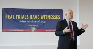 Sen. Ben Cardin, D-Maryland, speaks at the University of Baltimore School of Law on Monday, Feb. 3, 2020. (The Daily Record / Louis Krauss)
