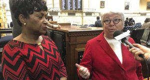 Maryland House Speaker Adrienne Jones, left, and Del. Maggie McIntosh talk about passage of a bill to increase school construction by $2.2 billion over five years after a 128-6 House vote on Friday, Feb. 14, 2020 in Annapolis. (AP Photo/Brian Witte)