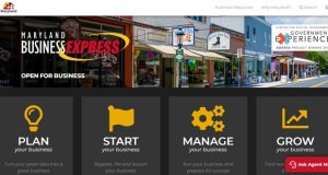 This screenshot shows the Maryland Business Express website which contains information to help businesses.