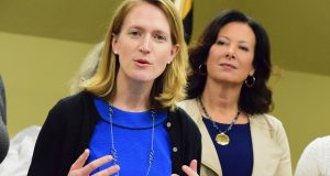 Del. Brooke Lierman, D-Baltimore, left, has joined Comptroller Peter Franchot in urging the governor to tap the state's rainy day fund to provide help for small businesses, renters, workers and families suffering from the economic pressures of the pandemic. (The Daily Record/File Photo)