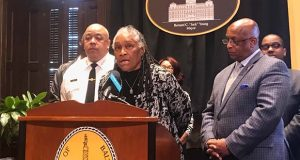 """Doris Terrell-Minor, president of the New Broadway East Association, said Wednesday at City Hall her neighborhood is """"ecstatic"""" to participate in Baltimore's Clean and Green Initiative. (The Daily Record / Adam Bednar)"""