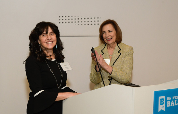 Maryland Court of Appeals Chief Judge Mary Ellen Barbera, right, applauds the work of the Pro Bono Resource Center with Sharon E. Goldsmith, PBRC's executive director. (Photo by Coos Hamburger/Focophoto)