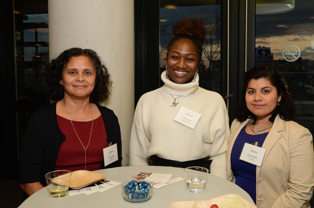 From left, Maryland Immigrant Legal Assistance Project volunteer interpreters Dr. Haydee Herrera, Naomi Abankwah and Carmen Guerra, enjoy their time at the 30th anniversary celebration. (Photo by Coos Hamburger/Focophoto)