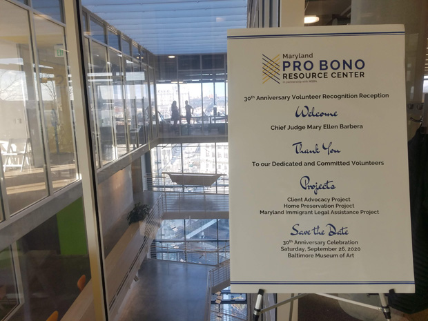 Pro Bono Resource Center's 30th anniversary celebration was hosted by the John and Frances Angelos Law Center at the University of Baltimore School of Law. (Photo by Dave Pantzer)