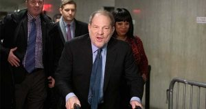 Harvey Weinstein arrives for his rape trial, Tuesday, Feb. 11, 2020 in New York. (AP Photo/Mark Lennihan)