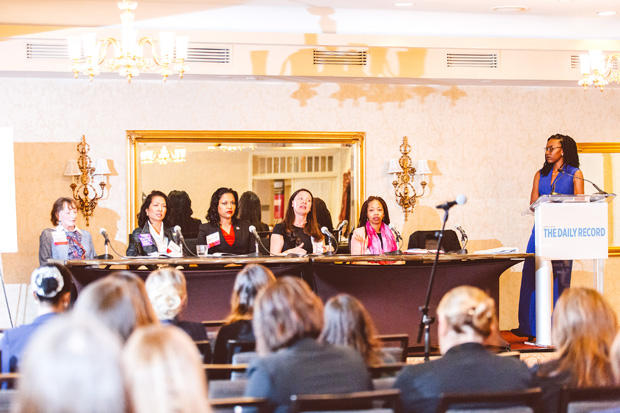 The Economic for Justice panel discussed a variety of topics and bill that would impact women that are being discussed in the Maryland 2020 General Assembly Session. From left, Del. Trent Kittleman, R-Carroll and Howard; Del. Kris Valderrama, D-Prince George's; Del. Vanessa E. Atterbeary, D-Howard; Michelle Daugherty Siri, executive director of the Women's Law Center of Maryland; Nicole Hanson-Mundell, chairman of the board for Out for Justice; and moderator Caryn York, CEO of Job Opportunities Task Force. (Photo by Brooke Jackson)