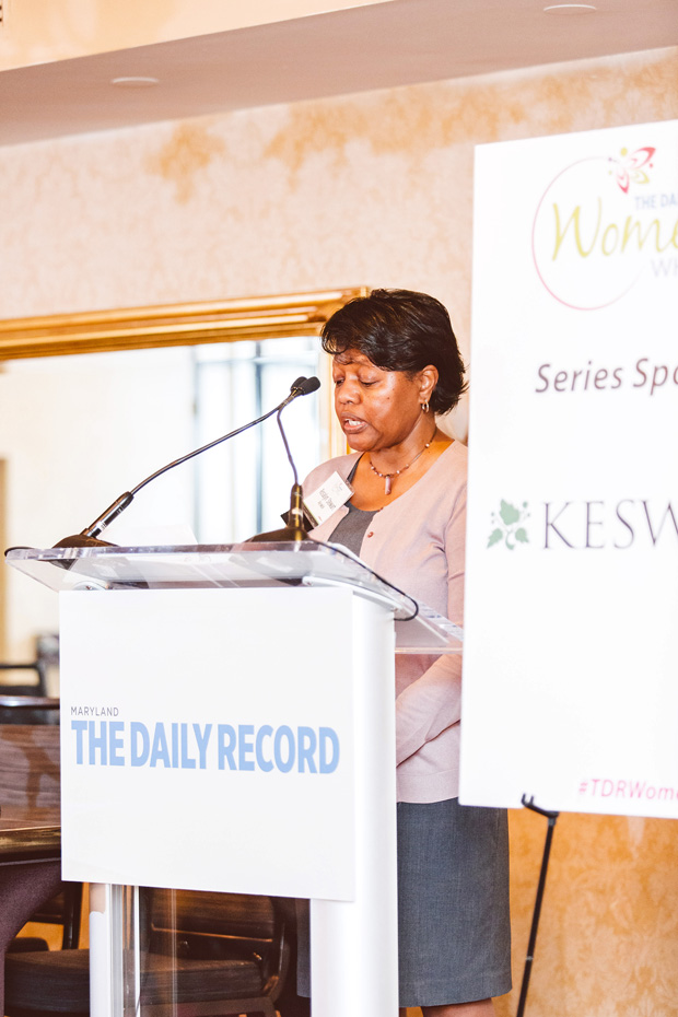Keswick's Rosalyn Stewart welcomes guests to the Women Who Lead event. Keswick is the series sponsor of the Women Who Lead networking series and is also a Diamond Sponsor for the 25th Anniversary of Top 100 Women events in 2020. (Photo by Brooke Jackson)