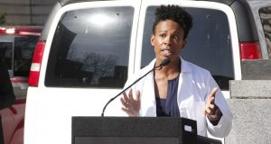 Baltimore Health Commissioner Letitia Dzirasa at Wednesday's news conference. (The Daily Record/Adam Bednar)