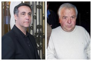 This combination of 2019 and 2002 file photos shows Michael Cohen, left, President Donald Trump's former personal attorney, outside his apartment building in New York and drug kingpin Gilberto Rodriguez Orejuela leaving the Combita maximum security prison in Tunja, Colombia before extradition to the United States in 2004. Amid the COVID-19 coronavirus threat, they are among the prisoners making pleas for compassionate release or home detention. (AP Photo/Jonathan Carroll, Javier Galeano)