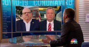 Gov. Larry Hogan, left, and New York City Mayor Bill DeBlasio speak with Chuck Todd on Sunday's episode of Meet The Press. (Meet the Press/NBC News)