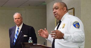 Baltimore Police Commissioner Michael Harrison discusses his plan for crime reduction at the Greater Baltimore Committee on Wednesday. (Submitted photo)