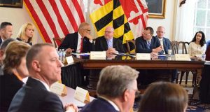 Gov. Larry Hogan, center, in a partial Cabinet meeting on March 10, 2020, to review the state's response to the COVID-19 outbreak. (The Daily Record / Bryan P. Sears)