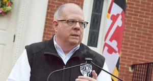 Gov. Larry Hogan speaks Thursday, March 19, 2020 in Annapolis. (The Daily Record / Bryan P. Sears)