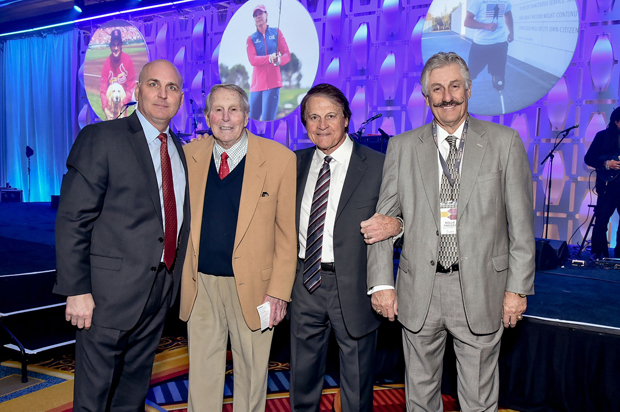 From left, Bill Ripken and Baseball Hall of Famers Brooks Robinson, Tony LaRussa and Rollie Fingers pose for a photo. (Photo by Robert Smith Photography)