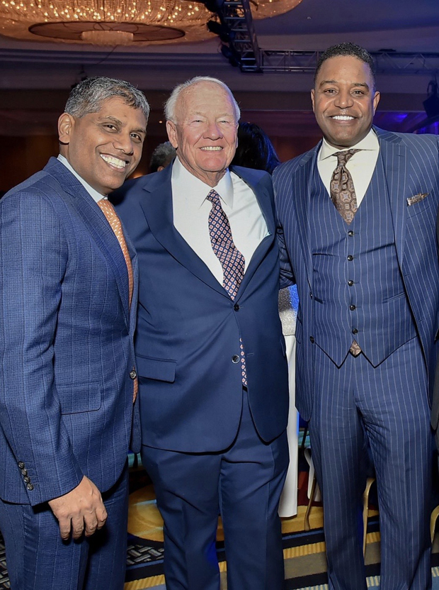 From left, University of Maryland Medical System President and CEO Mohan Suntha, former state Sen. Frank Kelly and Exelon Utilities CEO Calvin Butler attended the 16th annual Aspire Gala. (Photo by Robert Smith Photography)