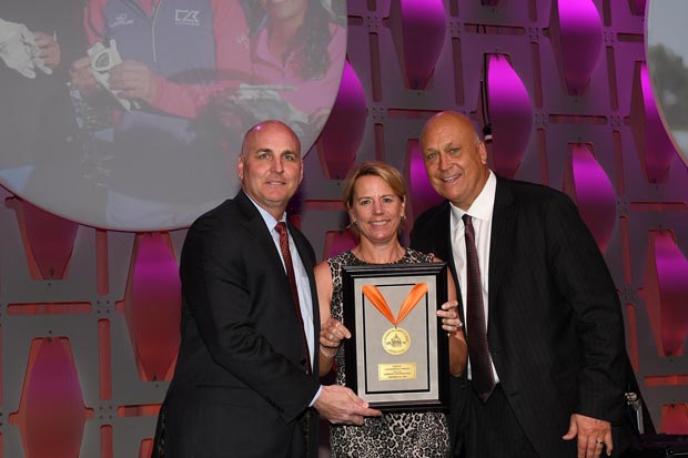 Former professional golfer Annika Sörenstam accepts her Aspire Award from Bill Ripken and Cal Ripken Jr. during the 16th annual Aspire Gala at the Baltimore Marriott Waterfront hotel. (Photo by Robert Smith Photography)
