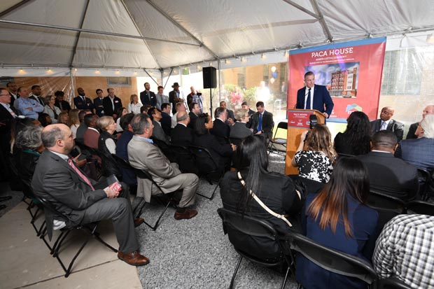 Volunteers of America Chesapeake and Carolinas President/CEO Russ Snyder addresses the crowd during the ribbon-cutting ceremony. (Photo by Maximilian Franz)