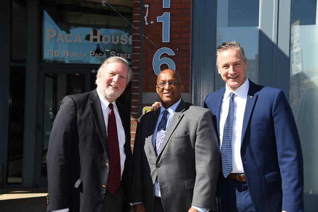 "From left, Bill Whitman, development partner with Somerset Development; Baltimore Mayor Bernard C. ""Jack"" Young; and Russ Snyder, president/CEO of Volunteers of America Chesapeake and Carolinas pose for a photo. (Photo by Maximilian Franz)"