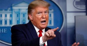 President Donald Trump speaks about the coronavirus in the James Brady Press Briefing Room at the White House, Monday, April 13, 2020, in Washington. (AP Photo/Alex Brandon)