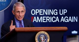 Dr. Anotny Fauci, Director of the National Institute of Allergy and Infectious Diseases at the National Institutes of Health, speaks about the coronavirus in the James Brady Press Briefing Room of the White House, Thursday, April 16, 2020, in Washington. (AP Photo/Alex Brandon)